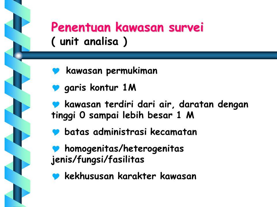Penentuan kawasan survei ( unit analisa )