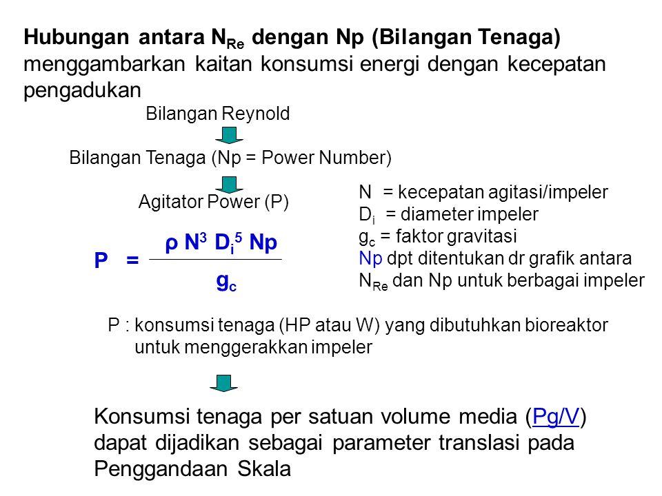 Hubungan antara NRe dengan Np (Bilangan Tenaga)