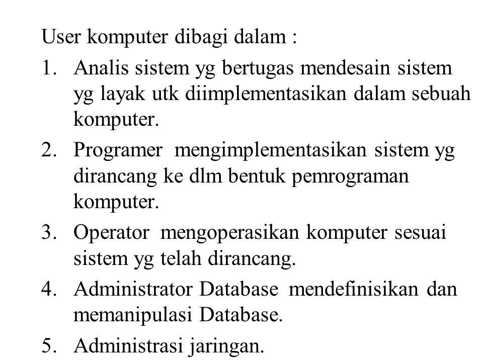 User komputer dibagi dalam :