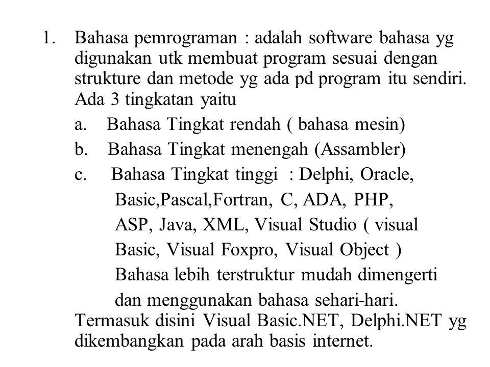Bahasa pemrograman : adalah software bahasa yg digunakan utk membuat program sesuai dengan strukture dan metode yg ada pd program itu sendiri. Ada 3 tingkatan yaitu