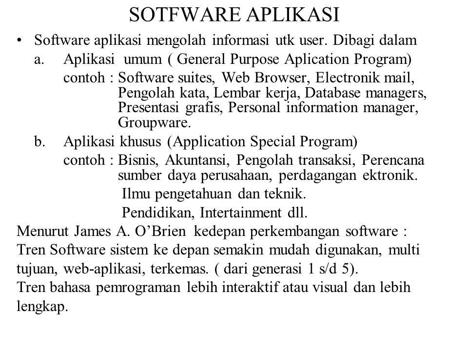 SOTFWARE APLIKASI Software aplikasi mengolah informasi utk user. Dibagi dalam. a. Aplikasi umum ( General Purpose Aplication Program)