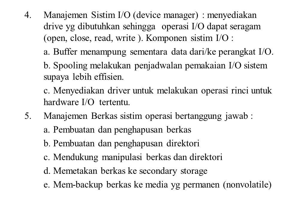 Manajemen Sistim I/O (device manager) : menyediakan drive yg dibutuhkan sehingga operasi I/O dapat seragam (open, close, read, write ). Komponen sistim I/O :