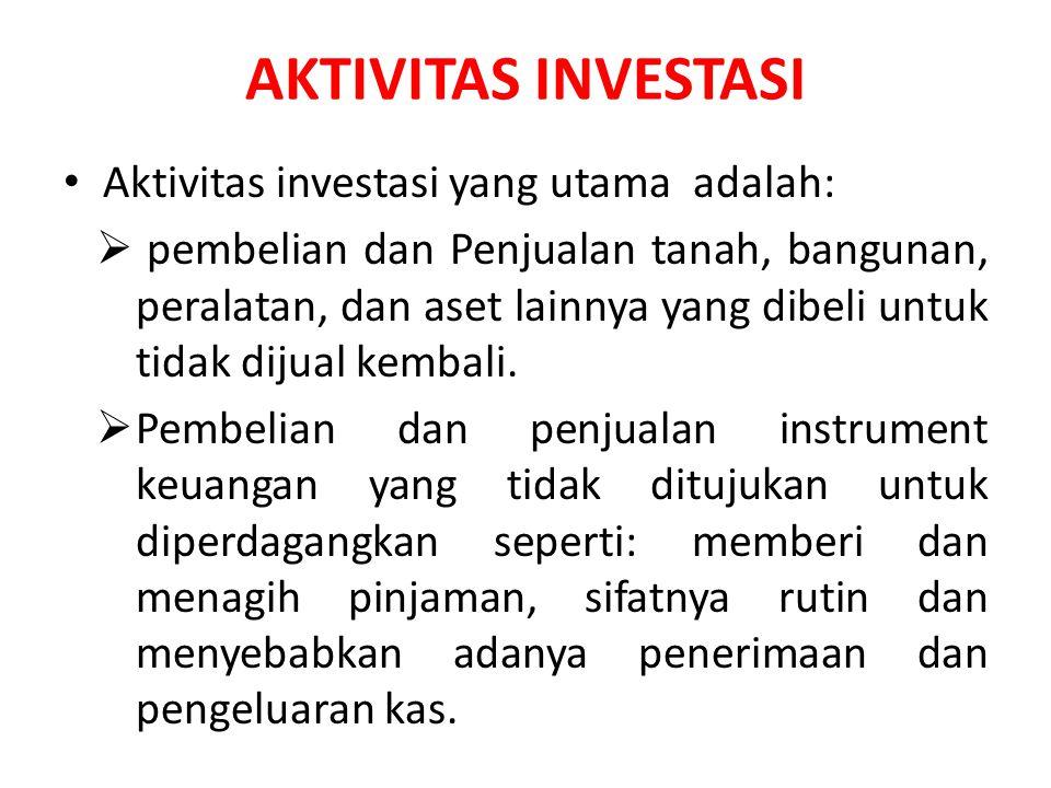 AKTIVITAS INVESTASI Aktivitas investasi yang utama adalah: