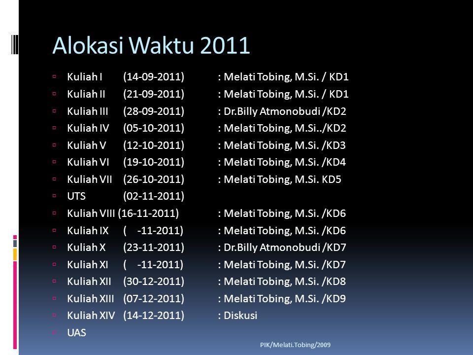 Alokasi Waktu 2011 Kuliah I (14-09-2011) : Melati Tobing, M.Si. / KD1
