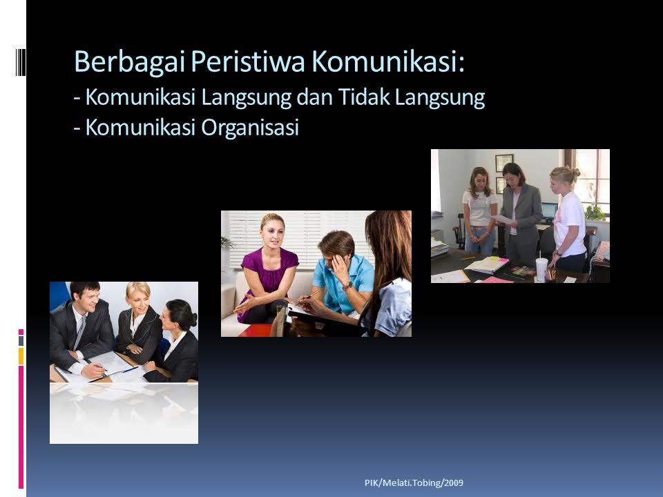 Berbagai Peristiwa Komunikasi: - Komunikasi Langsung dan Tidak Langsung - Komunikasi Organisasi