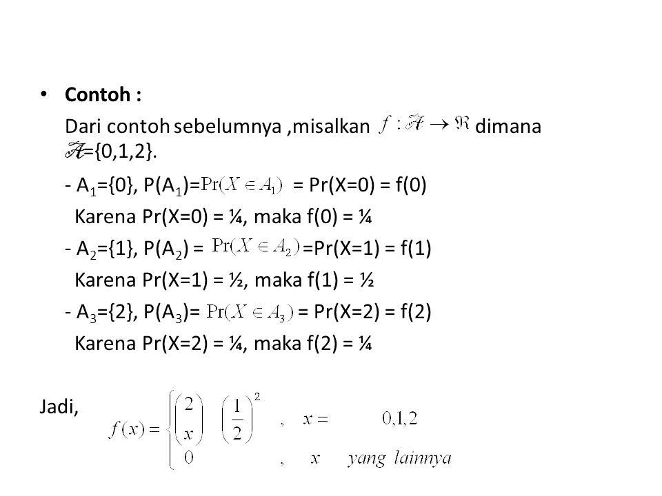 Contoh : Dari contoh sebelumnya ,misalkan dimana A={0,1,2}. - A1={0}, P(A1)= = Pr(X=0) = f(0)