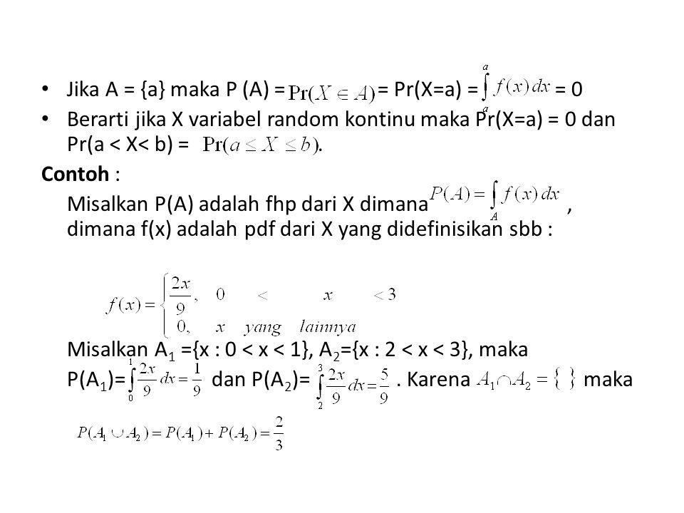 Jika A = {a} maka P (A) = = Pr(X=a) = = 0