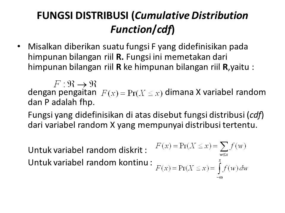 FUNGSI DISTRIBUSI (Cumulative Distribution Function/cdf)
