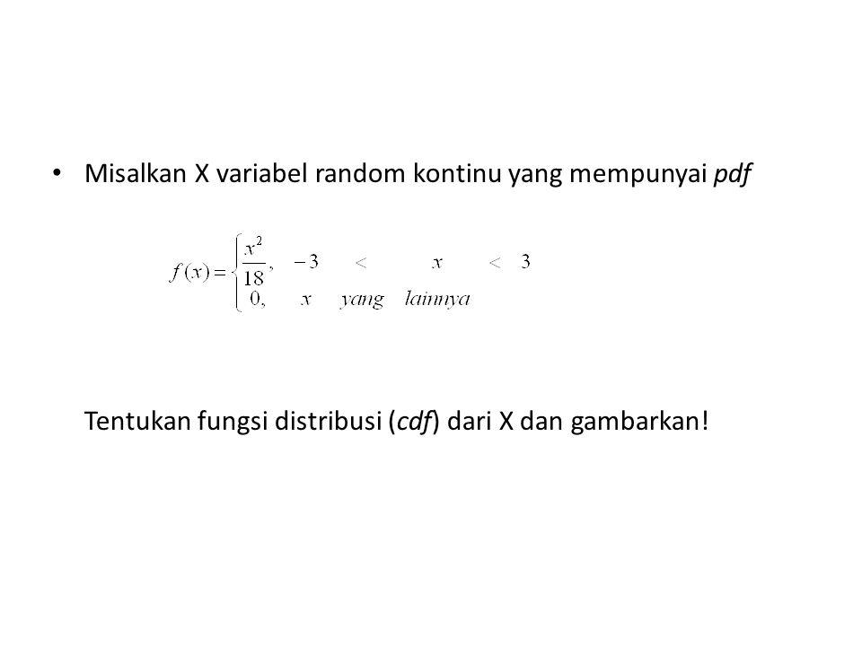 Misalkan X variabel random kontinu yang mempunyai pdf