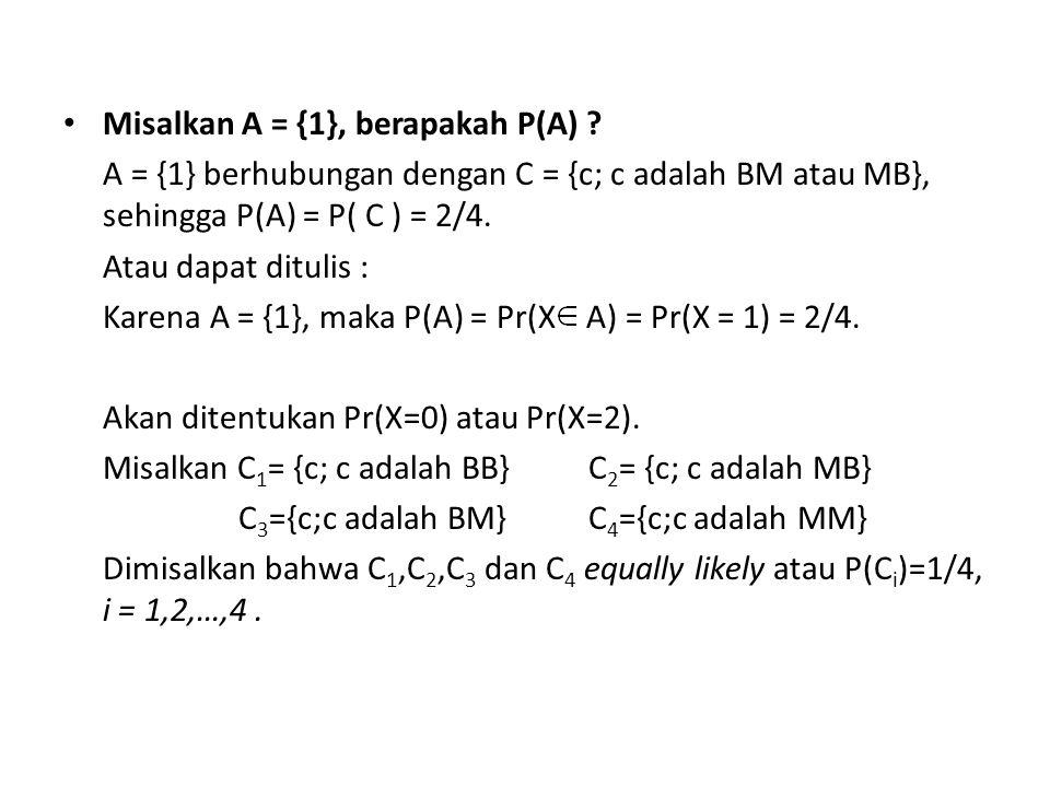 Misalkan A = {1}, berapakah P(A)