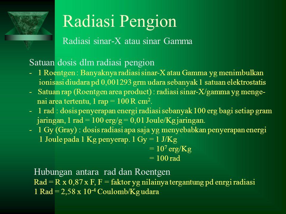 Radiasi Pengion Radiasi sinar-X atau sinar Gamma