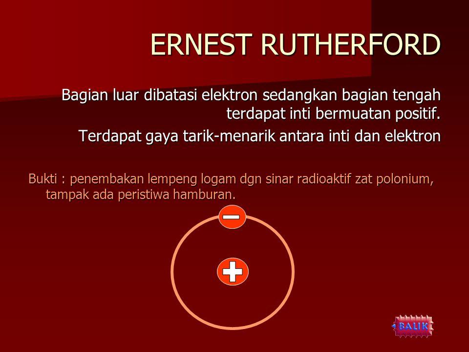 ERNEST RUTHERFORD Bagian luar dibatasi elektron sedangkan bagian tengah terdapat inti bermuatan positif.