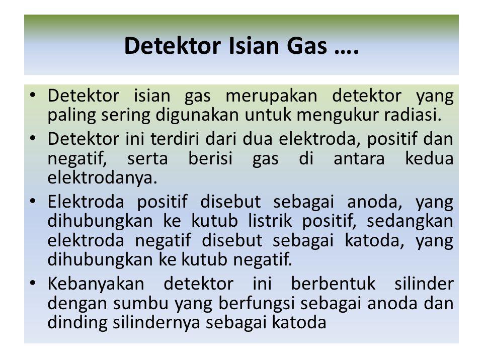 Detektor Isian Gas …. Detektor isian gas merupakan detektor yang paling sering digunakan untuk mengukur radiasi.