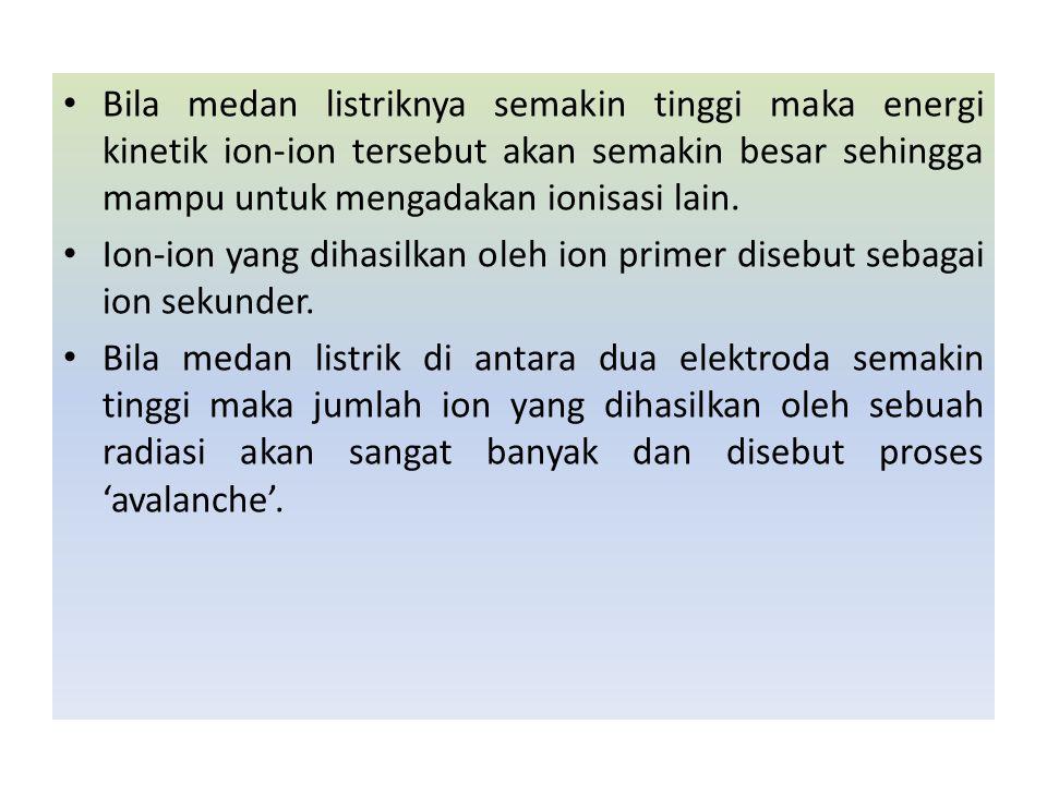 Bila medan listriknya semakin tinggi maka energi kinetik ion-ion tersebut akan semakin besar sehingga mampu untuk mengadakan ionisasi lain.