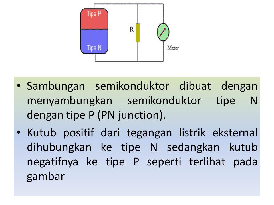 Sambungan semikonduktor dibuat dengan menyambungkan semikonduktor tipe N dengan tipe P (PN junction).