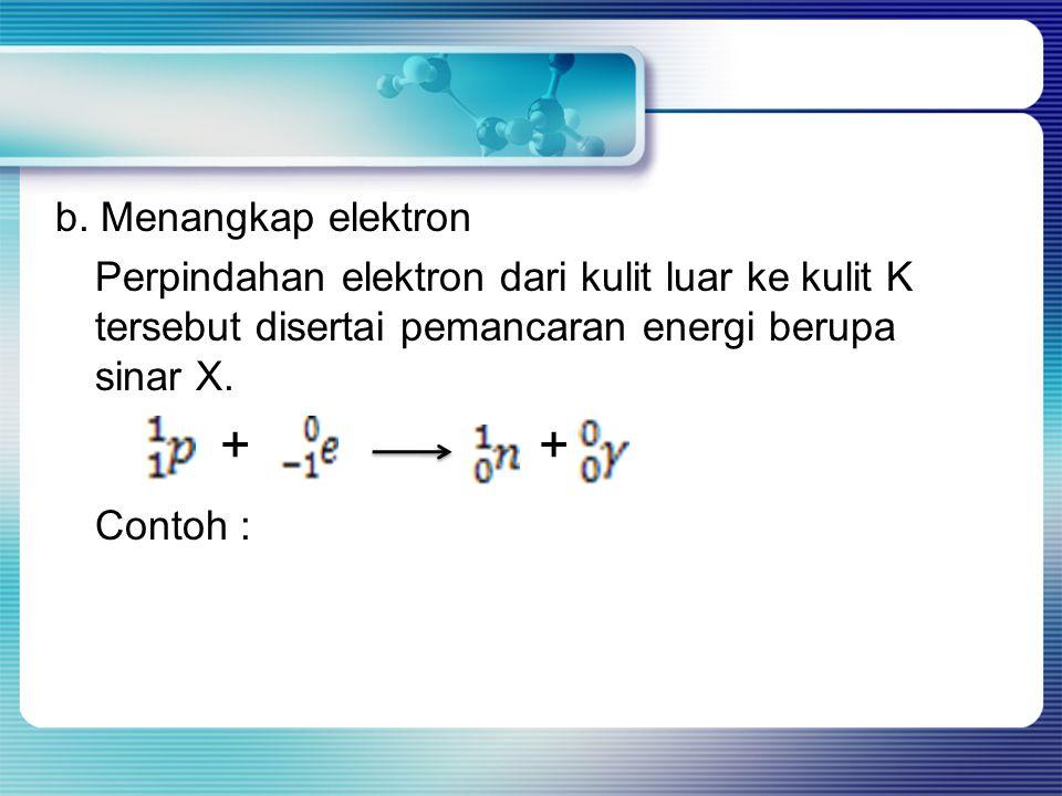 + + Contoh : b. Menangkap elektron