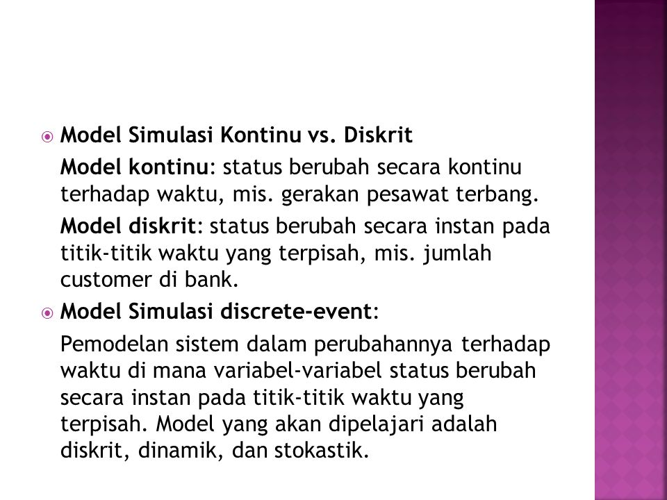 Model Simulasi Kontinu vs. Diskrit
