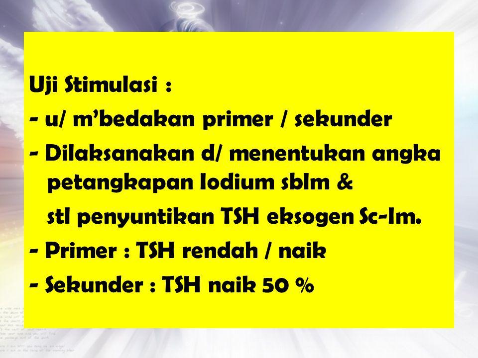 Uji Stimulasi : - u/ m'bedakan primer / sekunder - Dilaksanakan d/ menentukan angka petangkapan Iodium sblm & stl penyuntikan TSH eksogen Sc-Im.