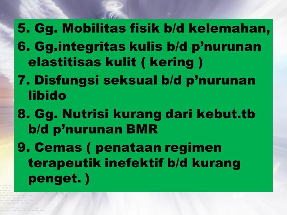 5. Gg. Mobilitas fisik b/d kelemahan, 6. Gg