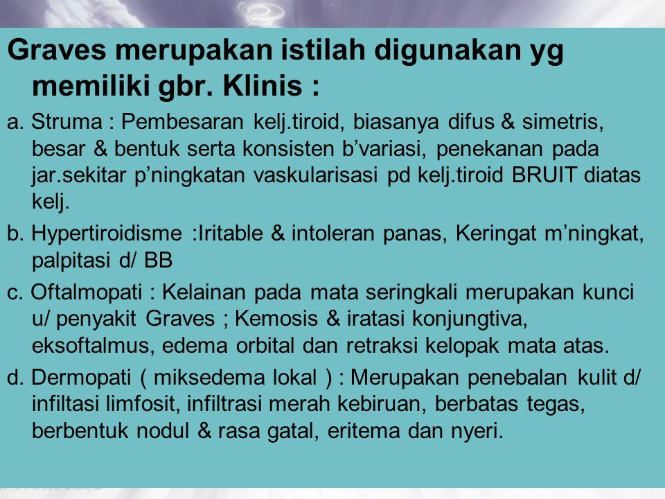 Graves merupakan istilah digunakan yg memiliki gbr. Klinis :
