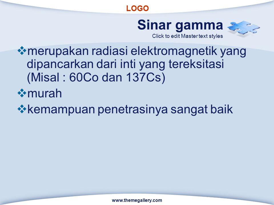 Sinar gamma merupakan radiasi elektromagnetik yang dipancarkan dari inti yang tereksitasi (Misal : 60Co dan 137Cs)