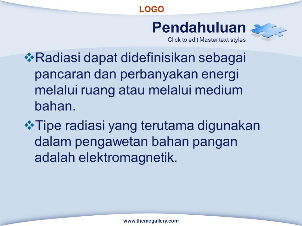 Pendahuluan Radiasi dapat didefinisikan sebagai pancaran dan perbanyakan energi melalui ruang atau melalui medium bahan.