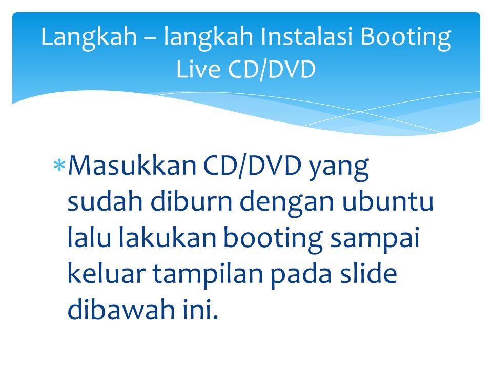 Langkah – langkah Instalasi Booting Live CD/DVD