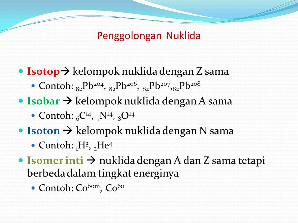 Penggolongan Nuklida Isotop kelompok nuklida dengan Z sama