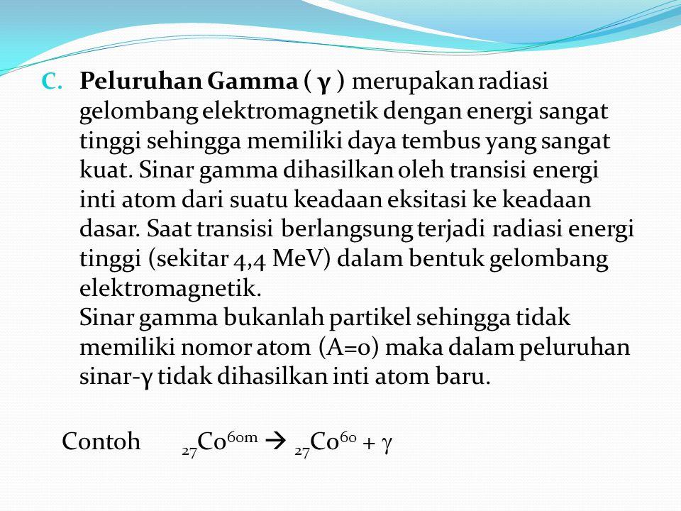 Peluruhan Gamma ( γ ) merupakan radiasi gelombang elektromagnetik dengan energi sangat tinggi sehingga memiliki daya tembus yang sangat kuat. Sinar gamma dihasilkan oleh transisi energi inti atom dari suatu keadaan eksitasi ke keadaan dasar. Saat transisi berlangsung terjadi radiasi energi tinggi (sekitar 4,4 MeV) dalam bentuk gelombang elektromagnetik. Sinar gamma bukanlah partikel sehingga tidak memiliki nomor atom (A=0) maka dalam peluruhan sinar-γ tidak dihasilkan inti atom baru.