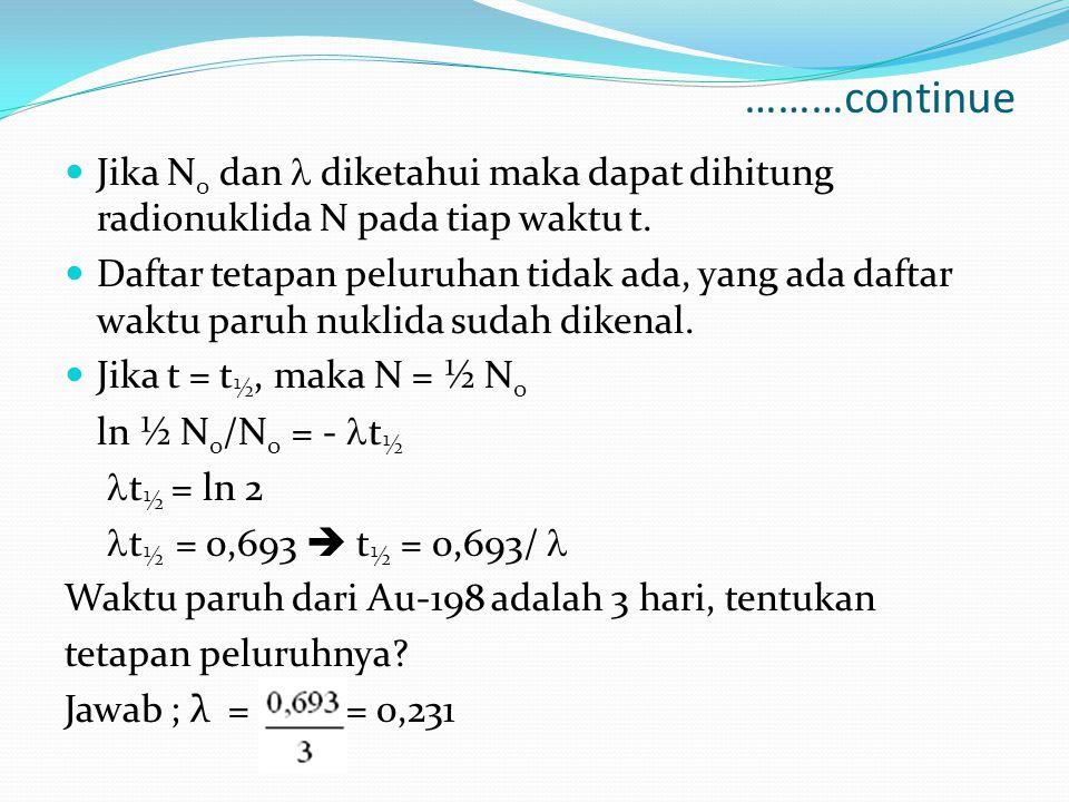 ………continue Jika N0 dan  diketahui maka dapat dihitung radionuklida N pada tiap waktu t.
