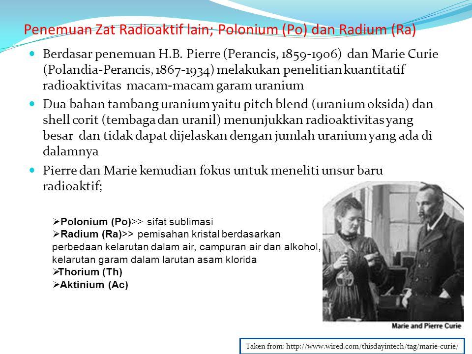 Penemuan Zat Radioaktif lain; Polonium (Po) dan Radium (Ra)