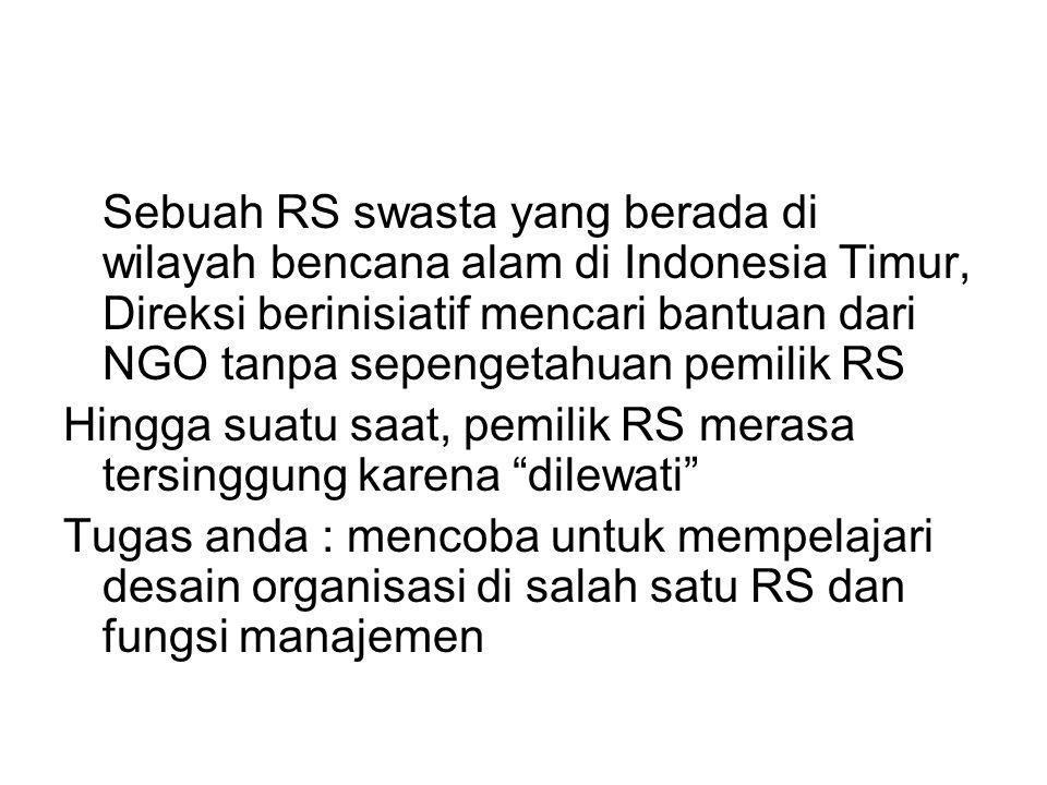 Sebuah RS swasta yang berada di wilayah bencana alam di Indonesia Timur, Direksi berinisiatif mencari bantuan dari NGO tanpa sepengetahuan pemilik RS