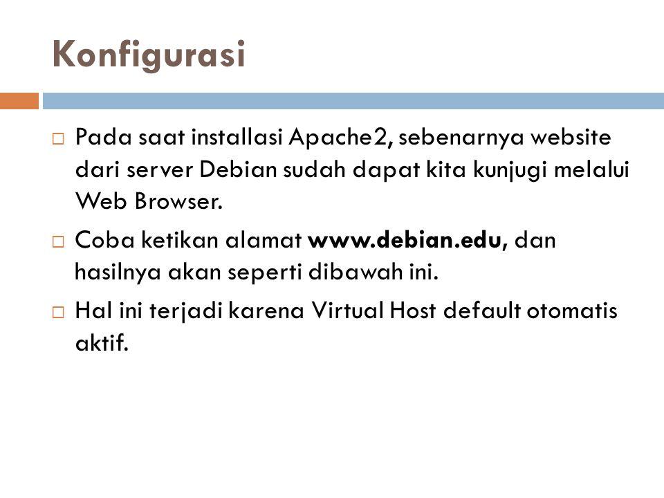 Konfigurasi Pada saat installasi Apache2, sebenarnya website dari server Debian sudah dapat kita kunjugi melalui Web Browser.