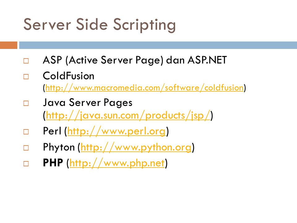 Server Side Scripting ASP (Active Server Page) dan ASP.NET