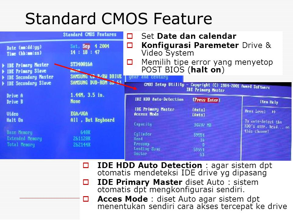 Standard CMOS Feature Set Date dan calendar