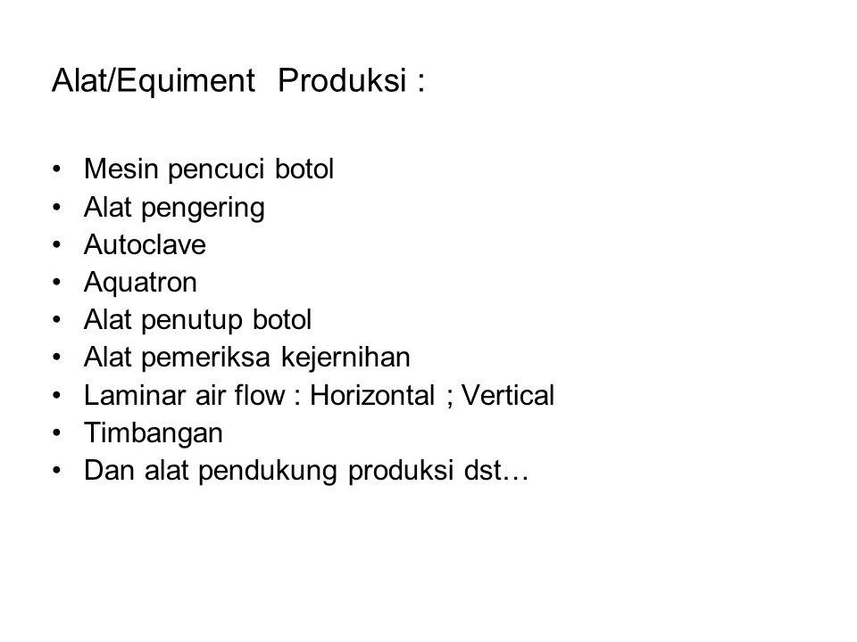 Alat/Equiment Produksi :