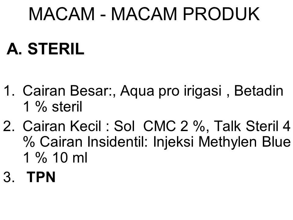 MACAM - MACAM PRODUK A. STERIL. Cairan Besar:, Aqua pro irigasi , Betadin 1 % steril.