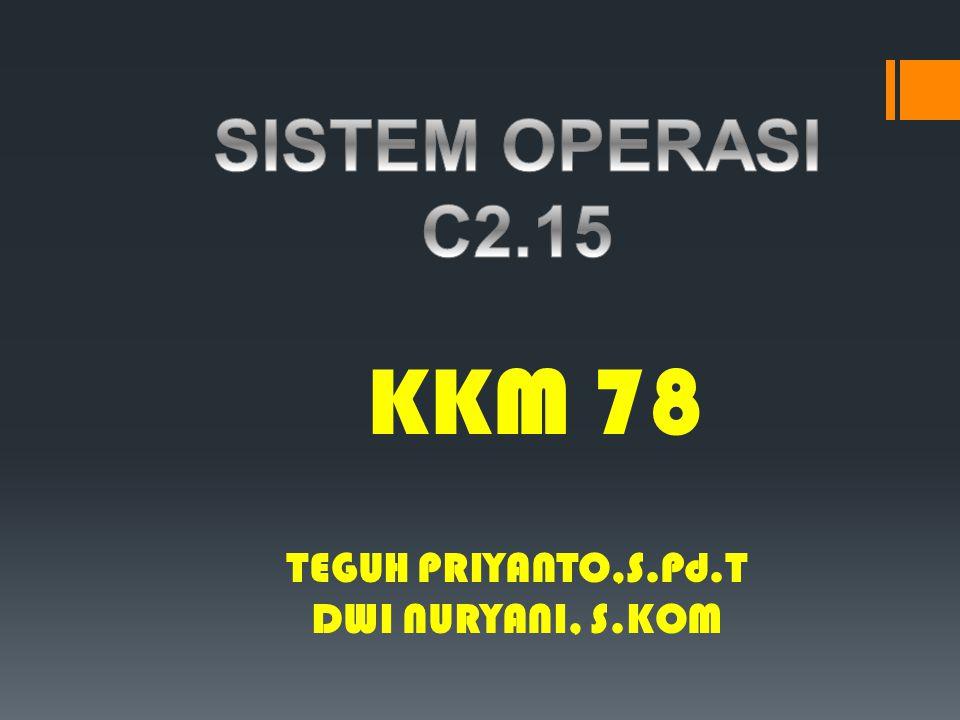 SISTEM OPERASI C2.15 KKM 78 TEGUH PRIYANTO,S.Pd.T DWI NURYANI, S.KOM