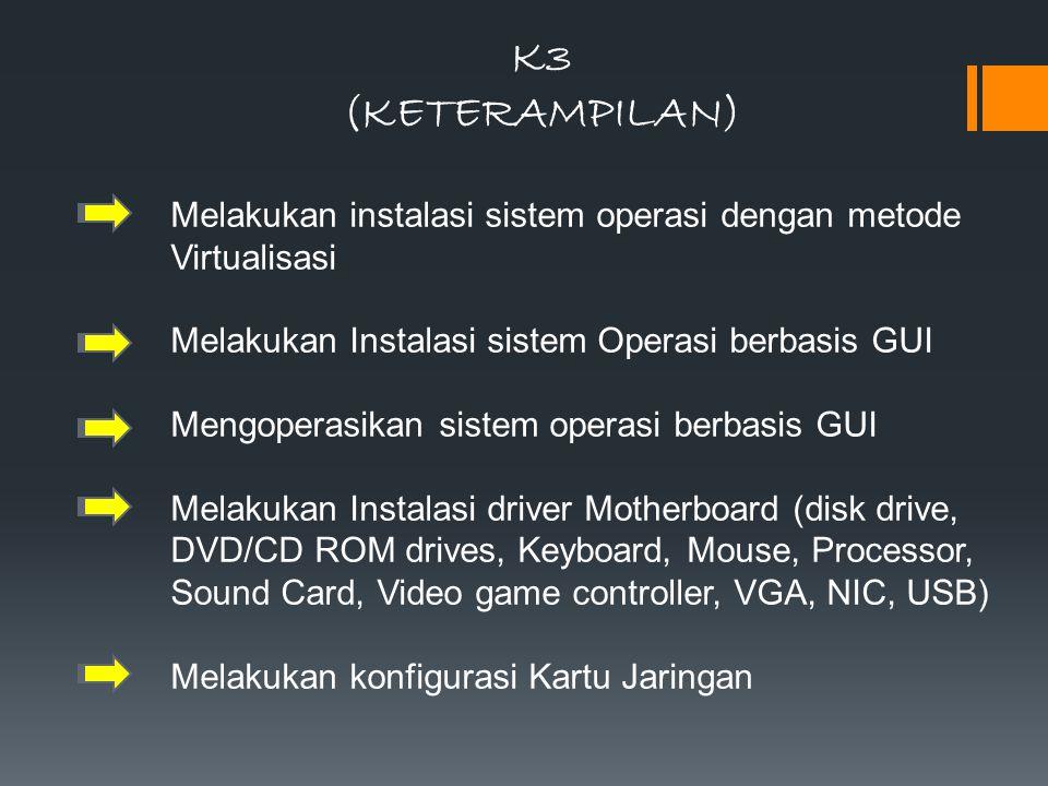 K3 (KETERAMPILAN) Melakukan instalasi sistem operasi dengan metode Virtualisasi. Melakukan Instalasi sistem Operasi berbasis GUI.