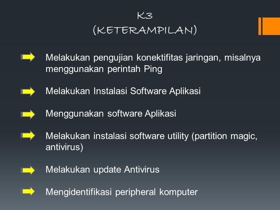 K3 (KETERAMPILAN) Melakukan pengujian konektifitas jaringan, misalnya menggunakan perintah Ping. Melakukan Instalasi Software Aplikasi.