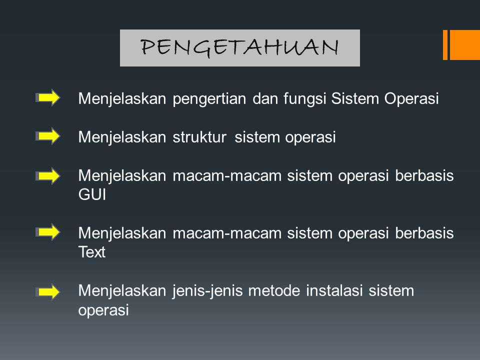 PENGETAHUAN Menjelaskan pengertian dan fungsi Sistem Operasi
