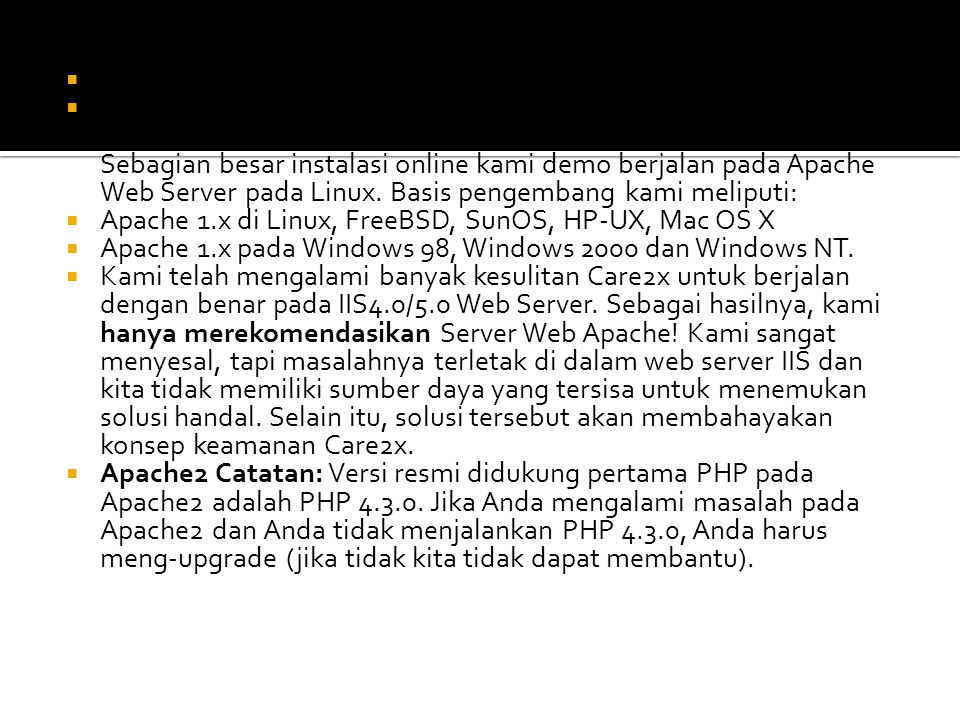 Apache 1.x atau server 2.x web: