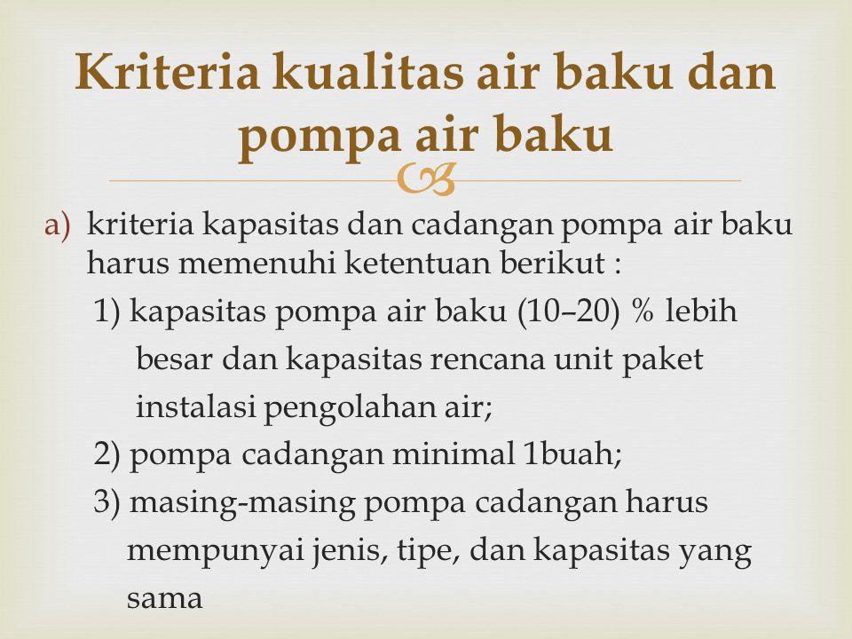Kriteria kualitas air baku dan pompa air baku