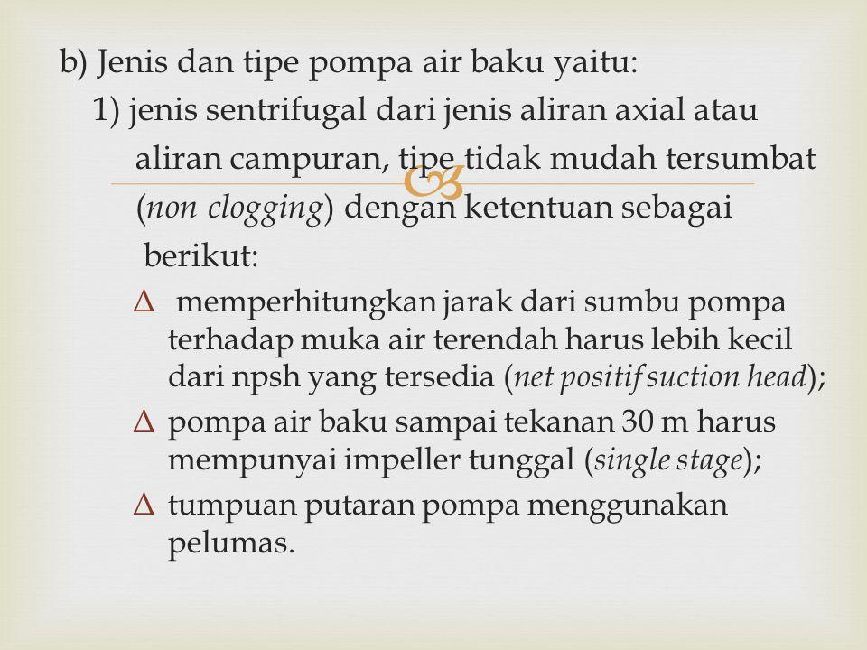 b) Jenis dan tipe pompa air baku yaitu: