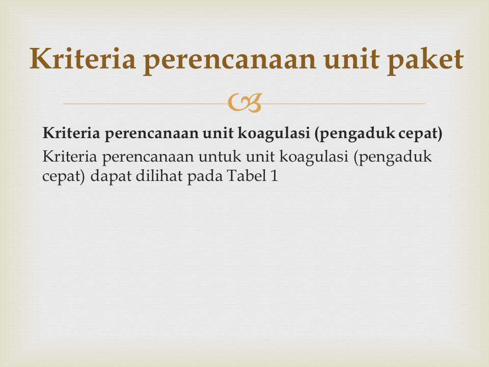 Kriteria perencanaan unit paket