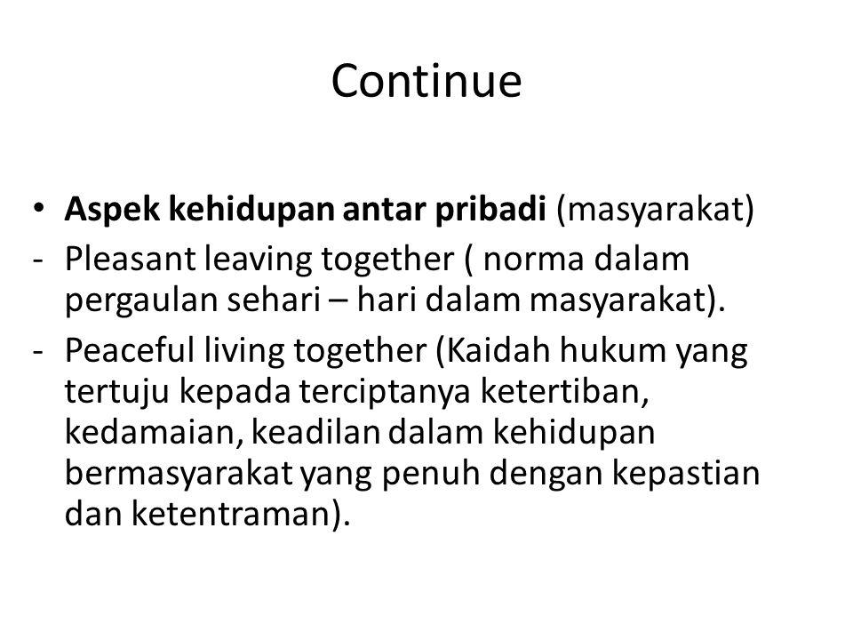 Continue Aspek kehidupan antar pribadi (masyarakat)