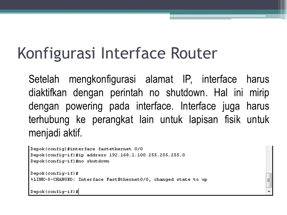Konfigurasi Interface Router