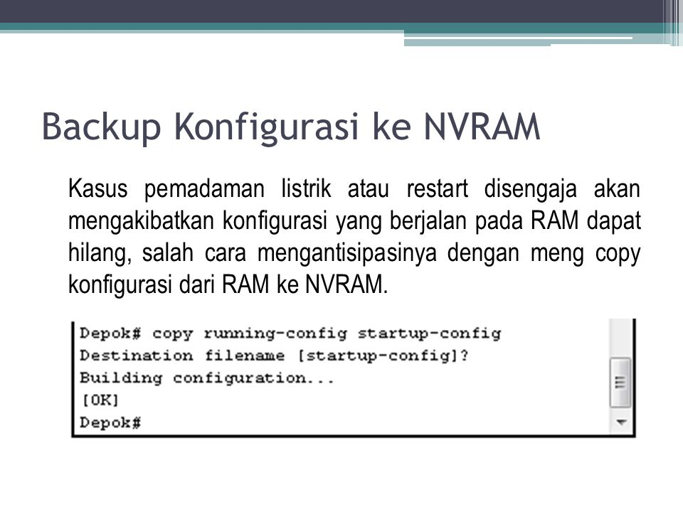 Backup Konfigurasi ke NVRAM