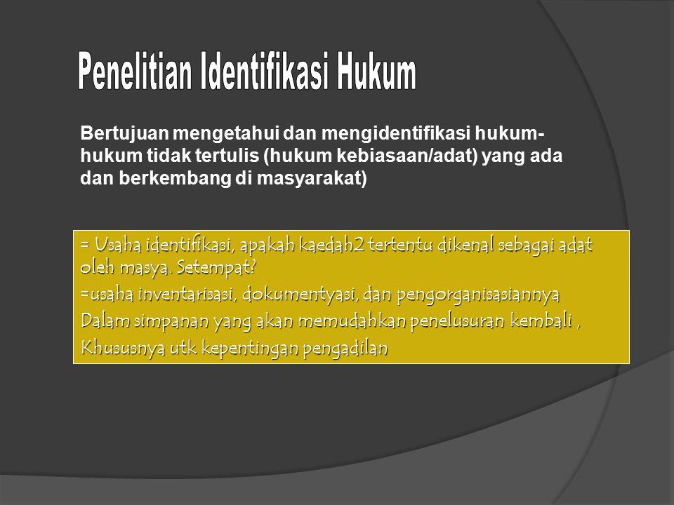 Penelitian Identifikasi Hukum