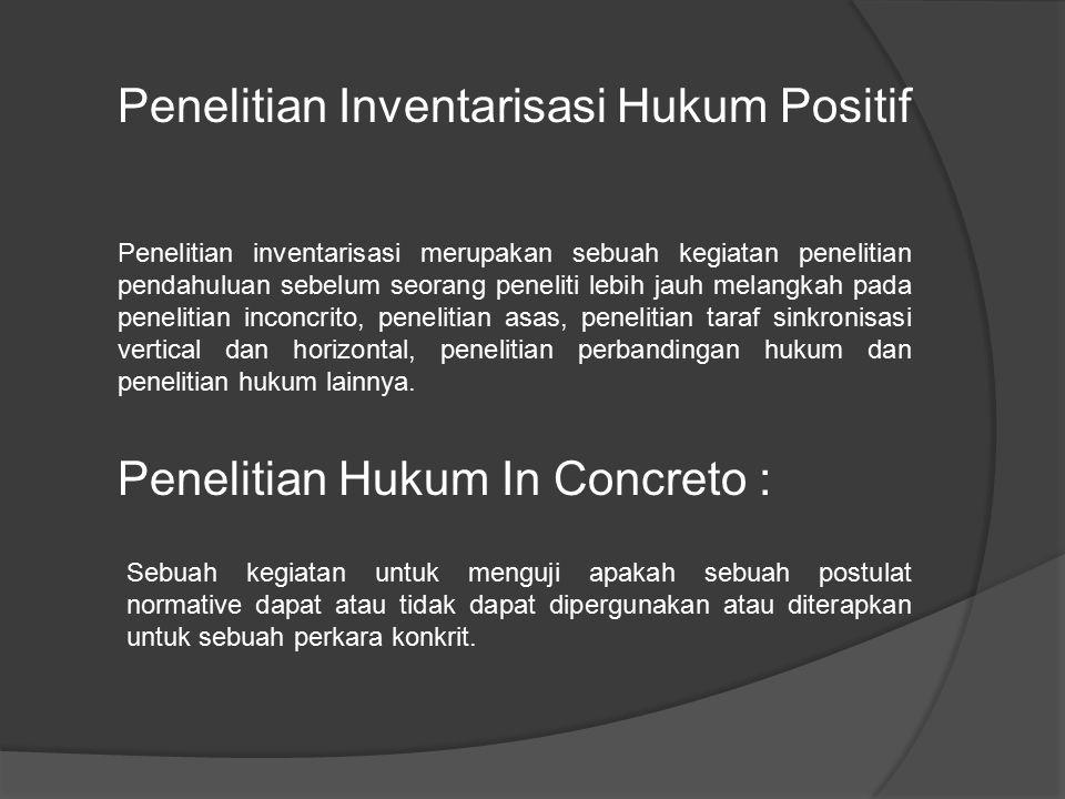 Penelitian Inventarisasi Hukum Positif
